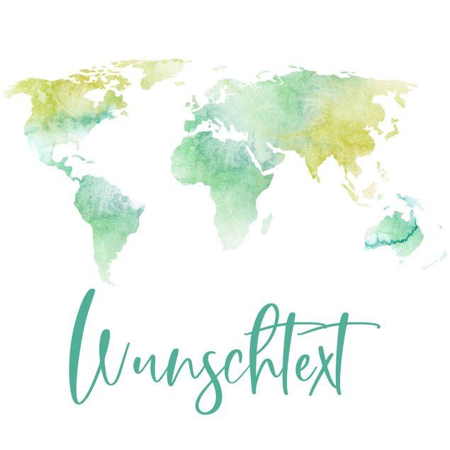 Wandtattoo mit Wunschtext - Aquarell Weltkarte Türkis mit Wunschtext