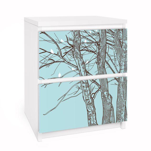 Möbelfolie für IKEA Malm Kommode - Selbstklebefolie Winterbäume