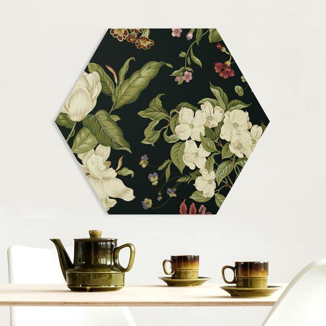 Hexagon Bild Forex - Gartenblumen auf Schwarz I