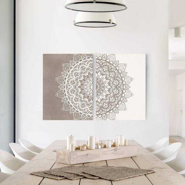 Leinwandbild 2-teilig - Mandala Illustration shabby Set beige weiß - Hoch 4:3