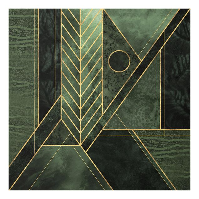 Forex Fine Art Print - Geometrische Formen Smaragd Gold - Quadrat 1:1