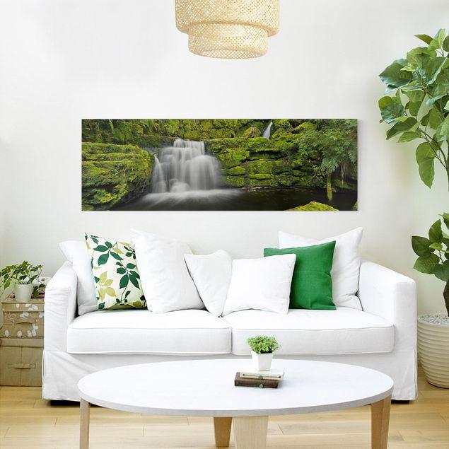 Leinwandbild - Lower McLean Falls in Neuseeland - Panorama 1:3