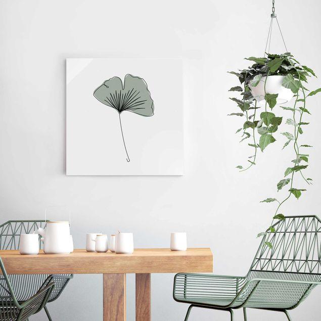 Glasbild - Gingko Blatt Line Art - Quadrat 1:1