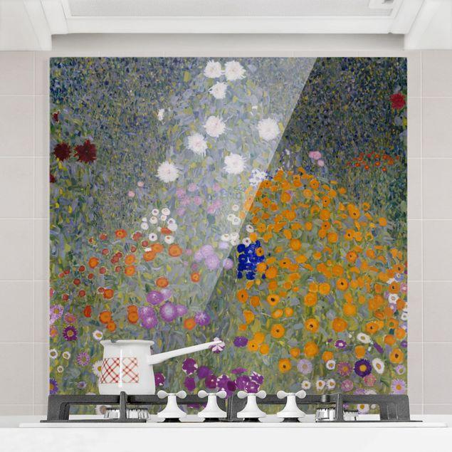Glas Spritzschutz - Gustav Klimt - Bauerngarten - Quadrat - 1:1