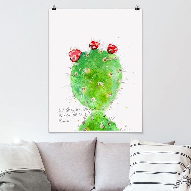 Poster - Kaktus mit Bibellvers IV - Hochformat 3:4