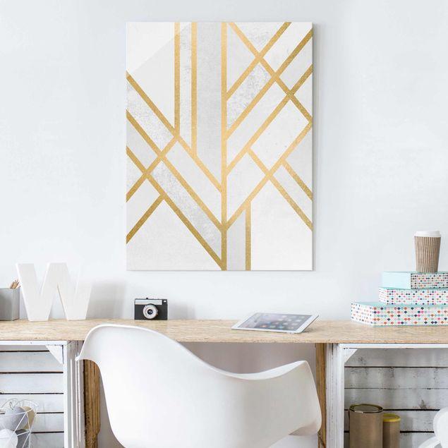 Glasbild - Art Deco Geometrie Weiß Gold - Hochformat 4:3