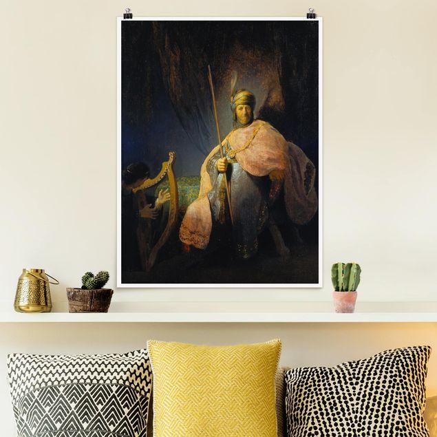 Poster - Rembrandt van Rijn - David spielt Harfe - Hochformat 3:4