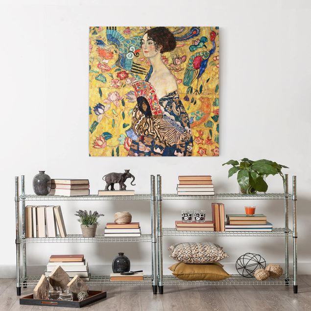 Leinwandbild - Gustav Klimt - Dame mit Fächer - Quadrat 1:1
