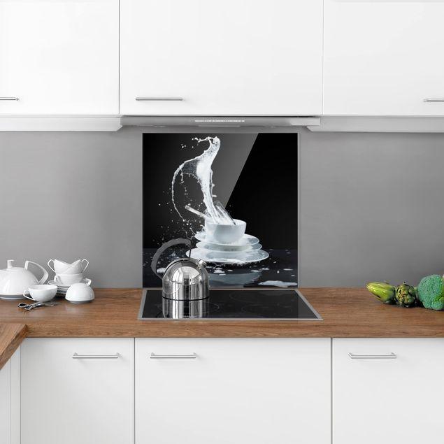 Glas Spritzschutz - Geschirr mit Spülmittel-Splash - Quadrat - 1:1
