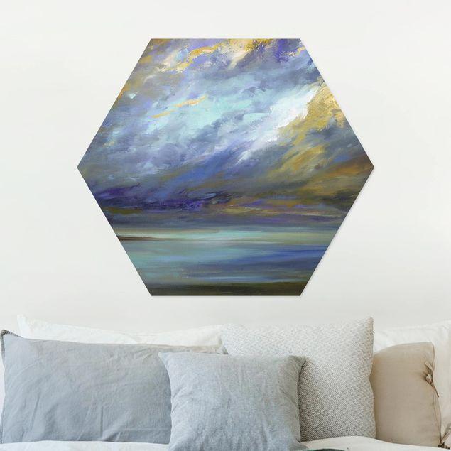Hexagon Bild Alu-Dibond - Himmel über Küste