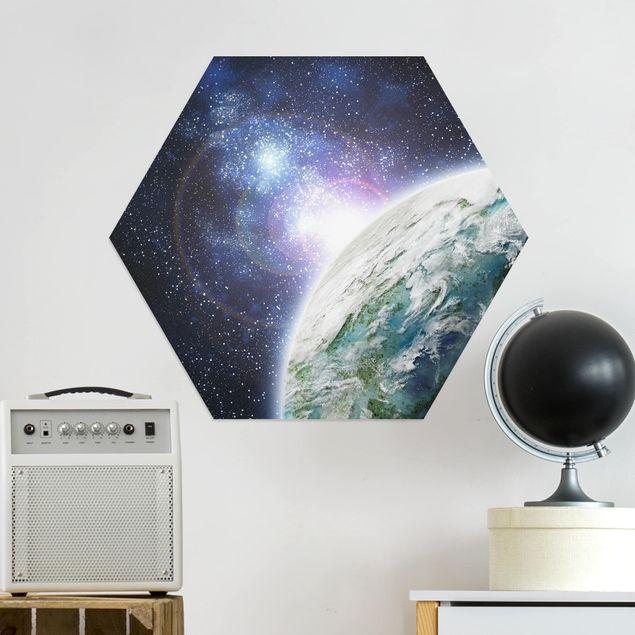 Hexagon Bild Alu-Dibond - Galaxy Light