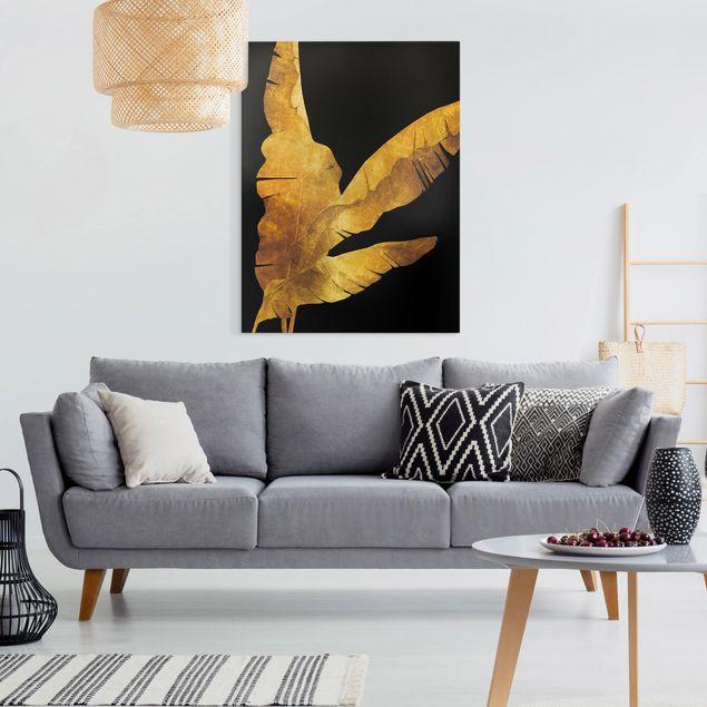 Leinwandbild - Gold - Bananenpalme auf Schwarz - Hochformat 4:3