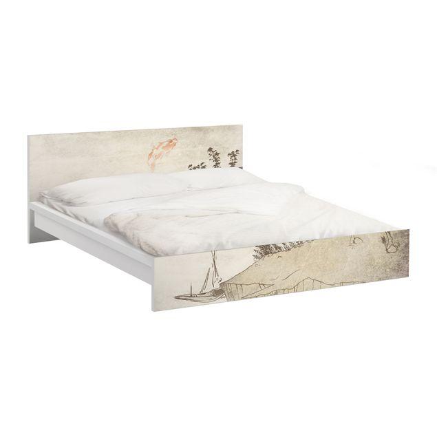 Möbelfolie für IKEA Malm Bett niedrig 140x200cm - Klebefolie No.MW8 Japanische Stille