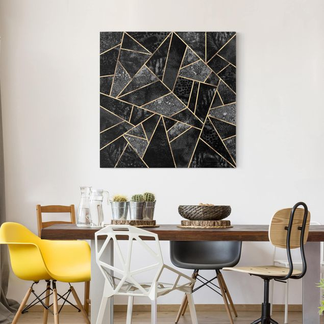 Leinwandbild - Graue Dreiecke Gold - Quadrat 1:1