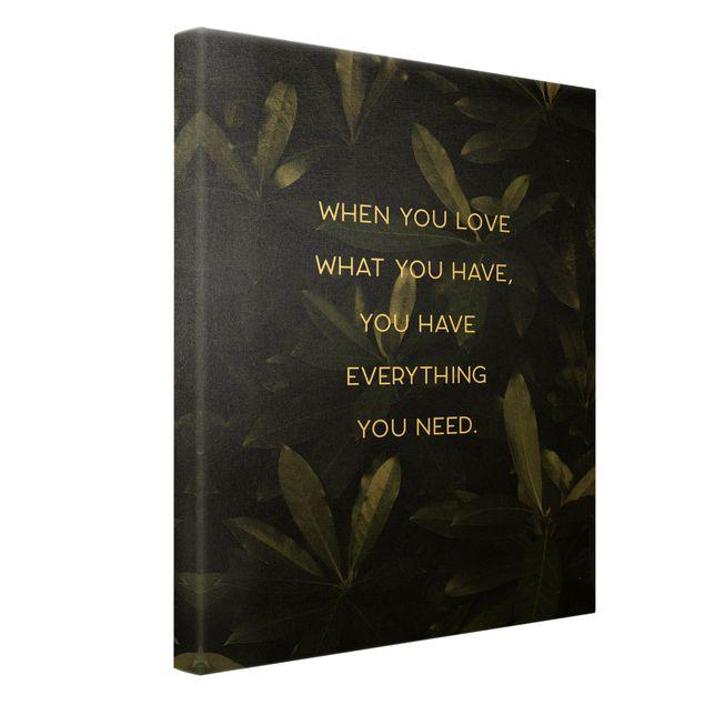 Leinwandbild Gold - Everything you need Tropical - Hochformat 3:4