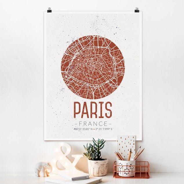 Poster - Stadtplan Paris - Retro - Hochformat 3:4