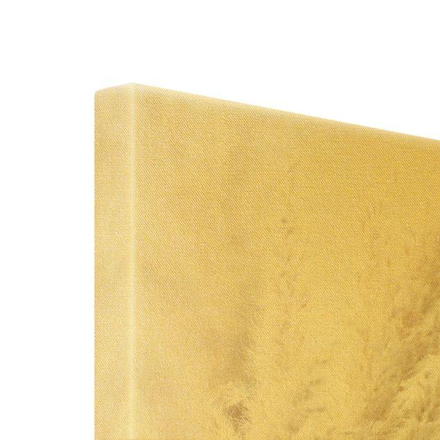 Leinwandbild Gold - Makroaufnahme Pampasgras - Hochformat 2:3