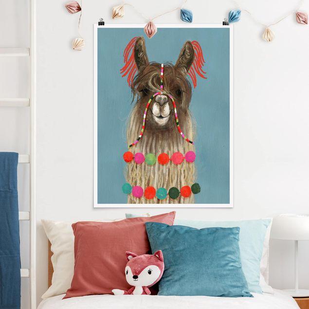 Poster - Lama mit Schmuck I - Hochformat 3:4