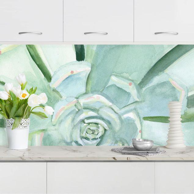 Küchenrückwand - Sukkulente Aquarell Hell