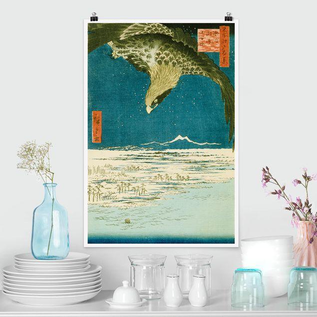 Poster - Utagawa Hiroshige - Die Hunderttausend-Tsubo-Ebene - Hochformat 3:2