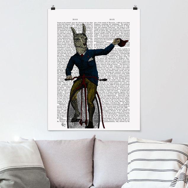 Poster - Tierlektüre - Lama auf Fahrrad - Hochformat 3:4