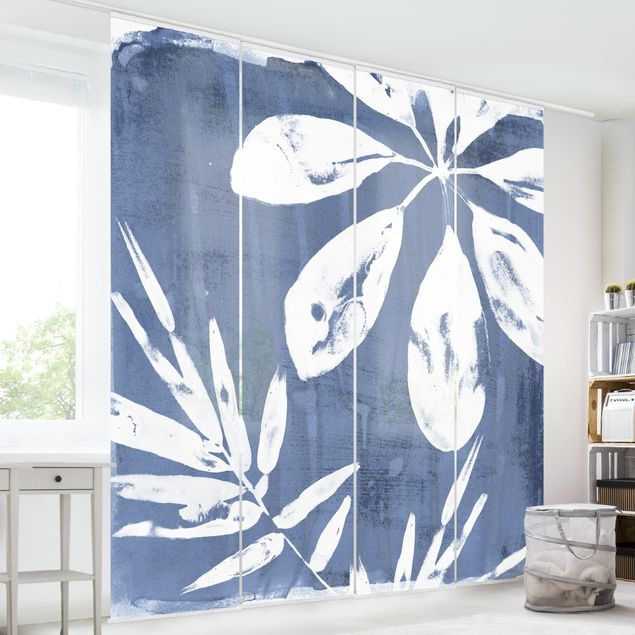 Schiebegardinen Set - Tropische Blätter Indigo II - Flächenvorhang