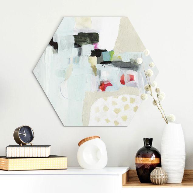 Hexagon Bild Alu-Dibond - Bunte Wasserfälle I