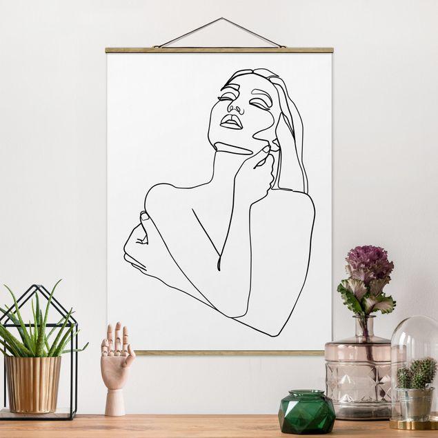 Stoffbild mit Posterleisten - Line Art Frau Oberkörper Schwarz Weiß - Hochformat 4:3