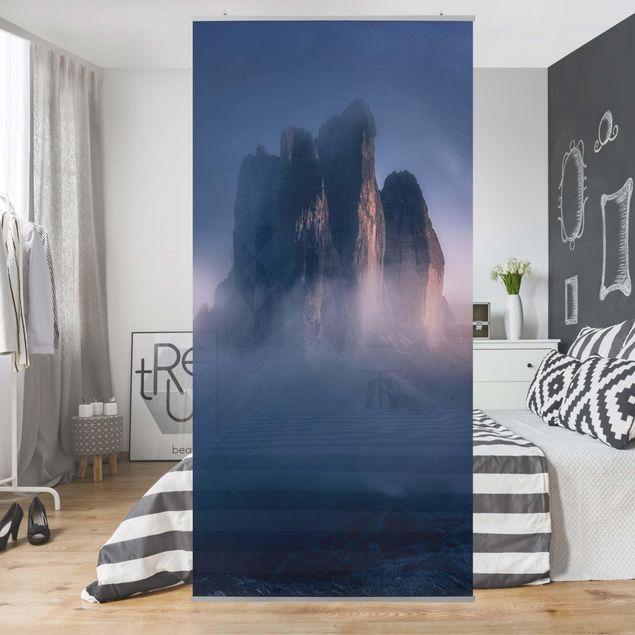 Raumteiler - Drei Zinnen in blauem Licht - 250x120cm