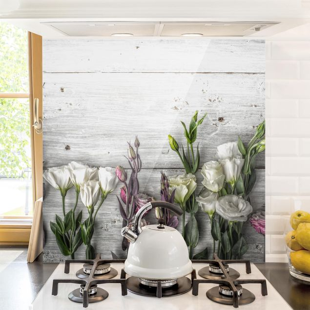 Glas Spritzschutz - Tulpen-Rose Shabby Holzoptik - Quadrat - 1:1