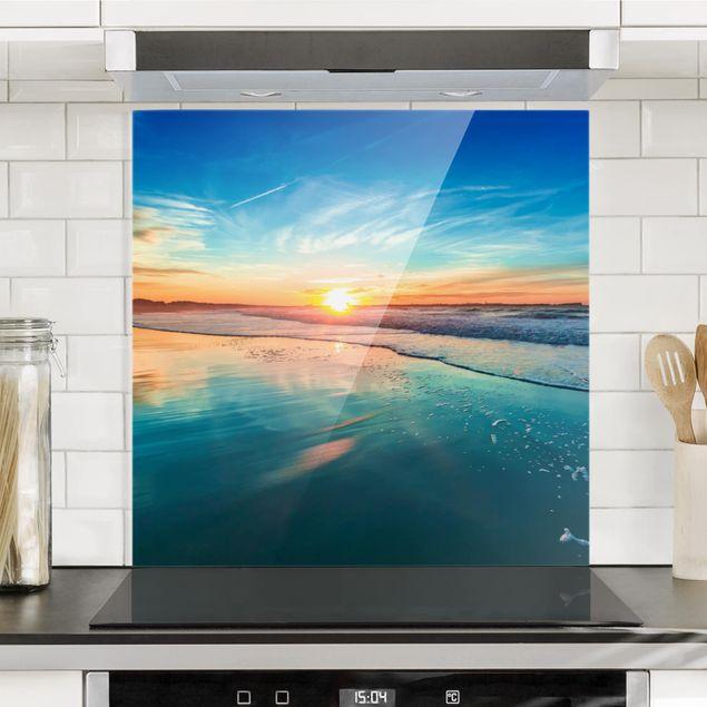 Glas Spritzschutz - Romantischer Sonnenuntergang am Meer - Quadrat - 1:1