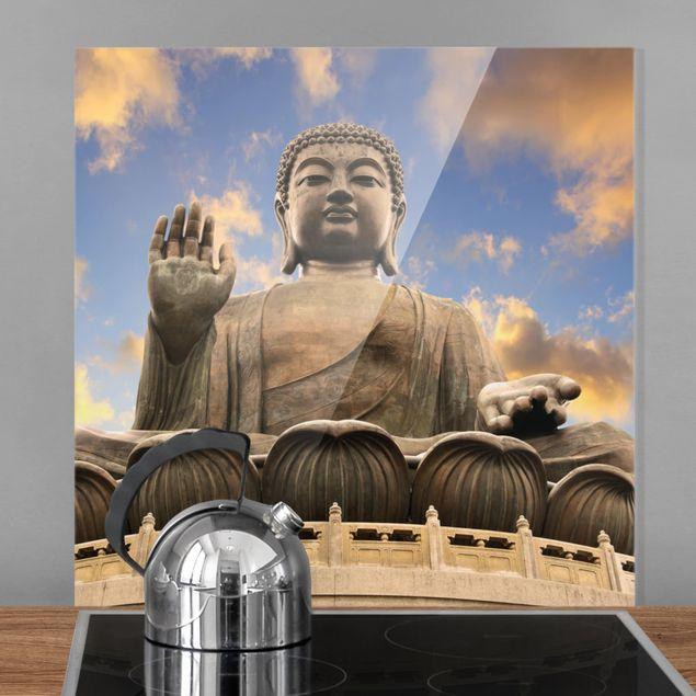 Glas Spritzschutz - Großer Buddha - Quadrat - 1:1