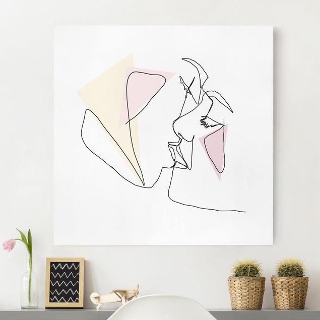 Leinwandbild - Kuss Gesichter Line Art - Quadrat 1:1