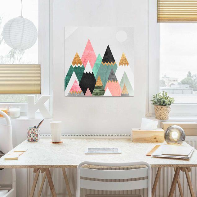 Glasbild - Dreieckige Berge mit Goldspitzen - Quadrat 1:1