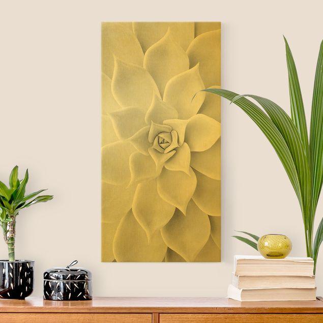 Leinwandbild Gold - Kaktus Sukkulente - Hochformat 1:2
