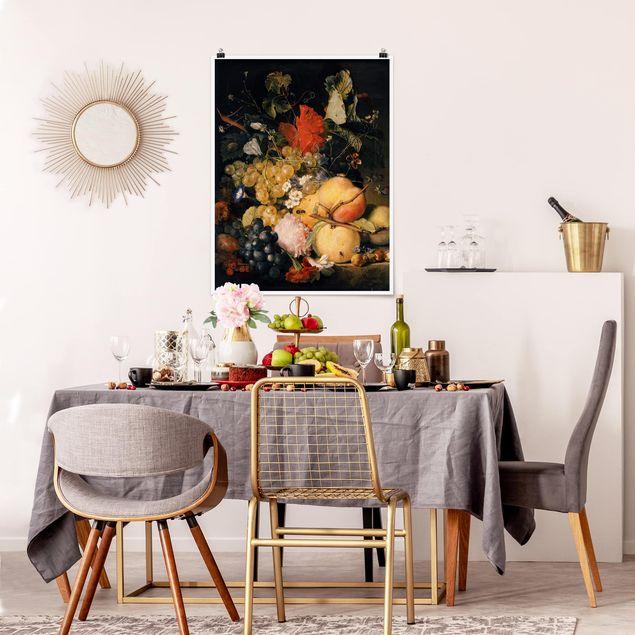 Poster - Jan van Huysum - Früchte Blumen und Insekten - Hochformat 3:4