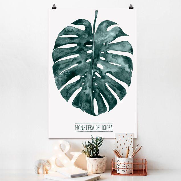 Poster - Smaragdgrüne Monstera Deliciosa - Hochformat 3:2