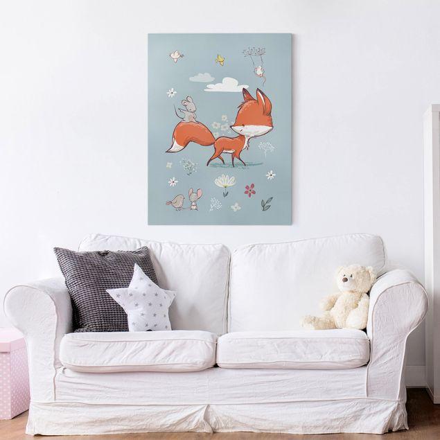 Leinwandbild - Fuchs und Maus auf Wanderschaft - Hochformat 4:3