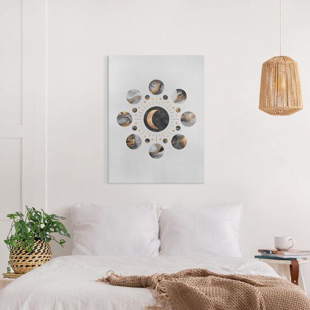 Leinwandbild - Mondphasen Abstrakt Gold - Hochformat 4:3