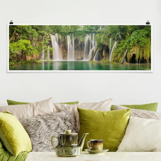 Poster - Wasserfall Plitvicer Seen - Panorama Querformat