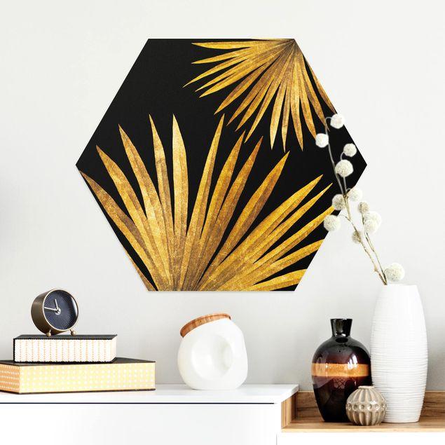 Hexagon Bild Alu-Dibond - Gold - Palmenblatt auf Schwarz