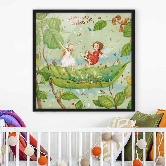 Bild mit Rahmen - Erdbeerinchen Erdbeerfee - Trampolin - Quadrat 1:1