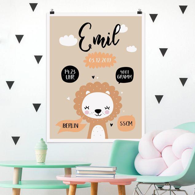 Poster - Der liebe Löwe Wunschtext - Hochformat 3:4