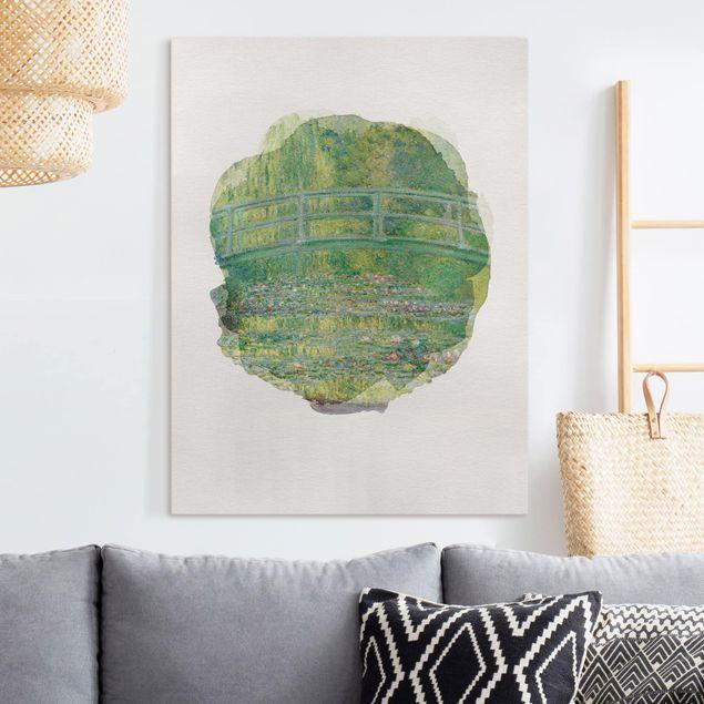 Leinwandbild - Wasserfarben - Claude Monet - Japanische Brücke - Hochformat 4:3