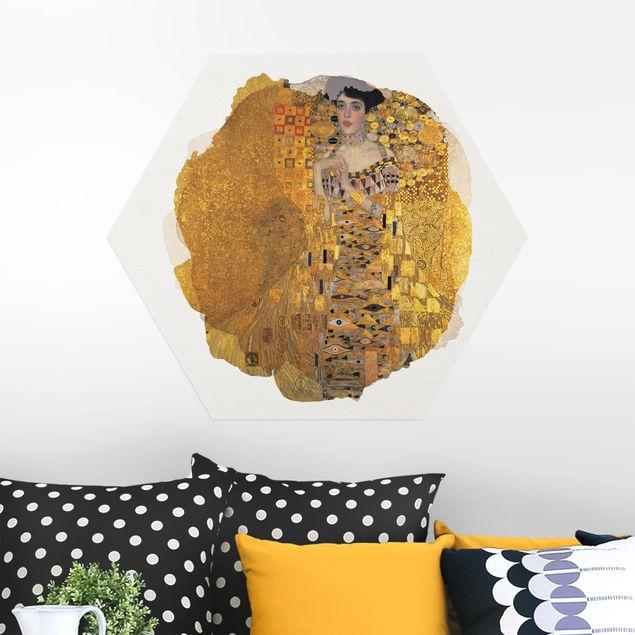 Hexagon Bild Alu-Dibond - Wasserfarben - Gustav Klimt - Adele Bloch-Bauer I