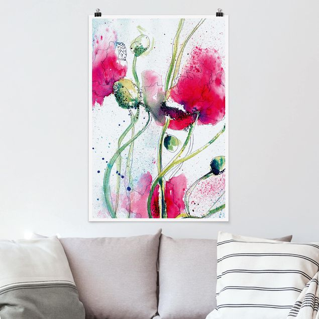Poster - Painted Poppies - Hochformat 3:2