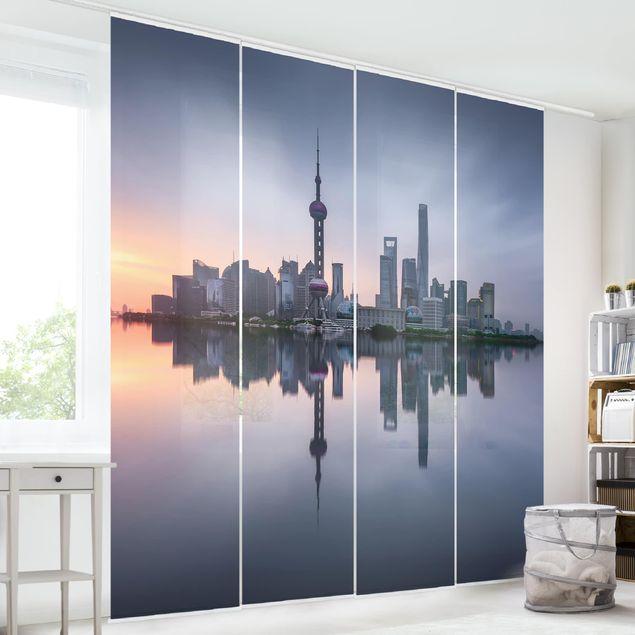 Schiebegardinen Set - Shanghai Skyline Morgenstimmung - Flächenvorhang