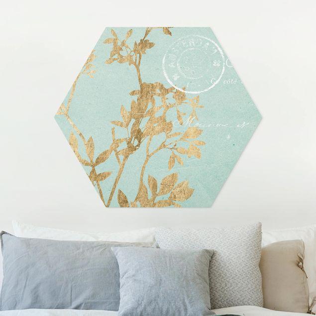 Hexagon Bild Forex - Goldene Blätter auf Turquoise I
