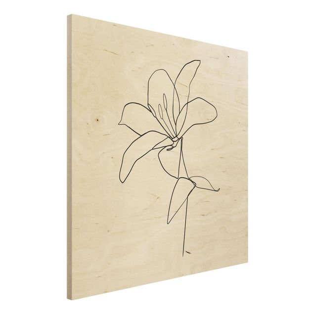 Holzbild - Line Art Blüte Schwarz Weiß - Quadrat 1:1