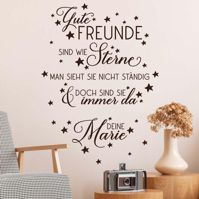 Wandtattoo mit Wunschtext - Gute Freunde sind wie Sterne